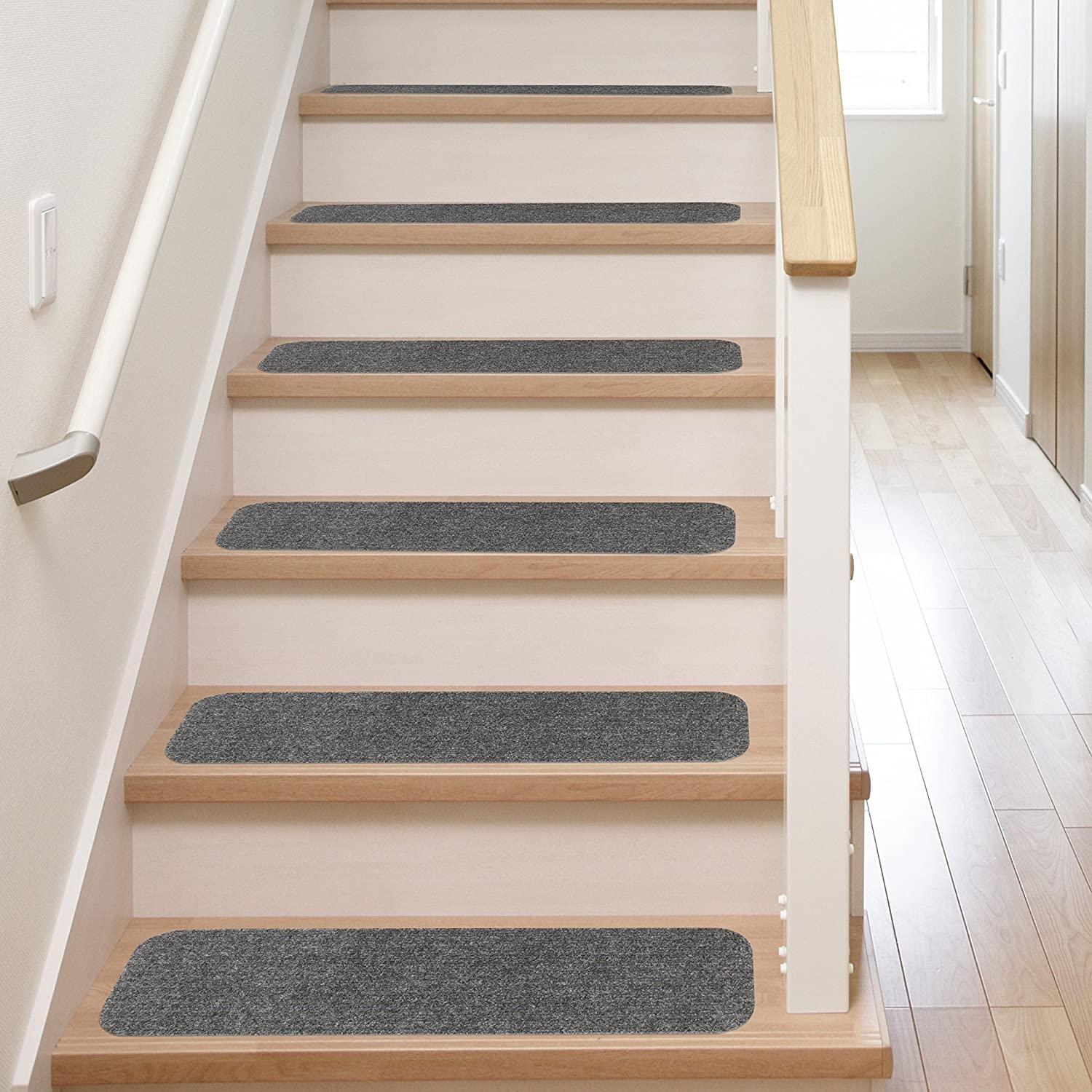 13 Stair Treads Non Slip Carpet Pads Easy Tape Installation | Converting Carpeted Stairs To Wood | Stair Tread | Staircase Makeover | Laminate Flooring | Wood Flooring | Risers