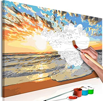 Murando Paint By Numbers For Adults And Kids Beach Sea 90x30 Cm Diy Canvas Painting Set Wall Art Frame Gift N A 0665 D A Amazon Co Uk Toys Games