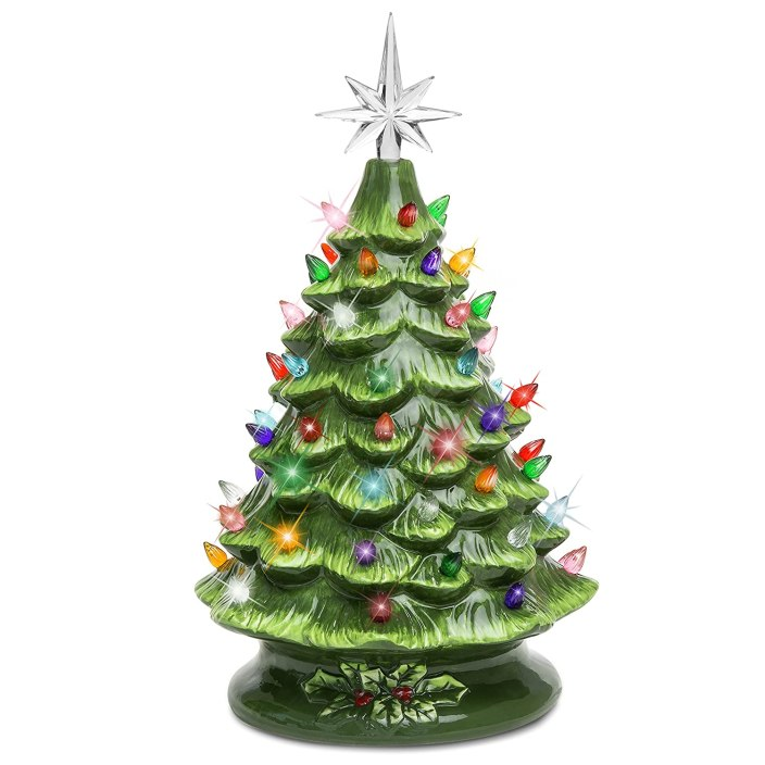 Ceramic Christmas Tree with 50 Multi-Color Lights. Here are some of the best Vintage Christmas Decor Ideas I've found this year. #AbbottsAtHome #ChristmasDecor #ChristmasIdeas