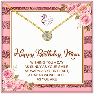 Amazon Com Trensygo 14k Gold Solitaire Mom Birthday Gifts Necklace From Daughter And Son 1st 30th 40th 75th 80th 50th 60th 76th 85th 70th 90th Mama Mommy Mother In Law Happy Birthday Present