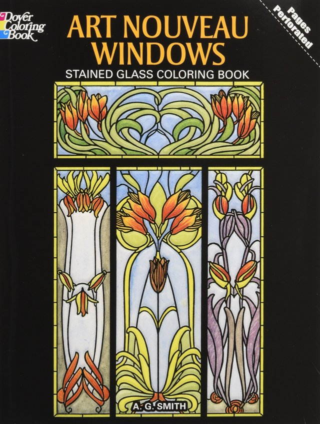 Art Nouveau Windows Stained Glass Coloring Book (Dover Design