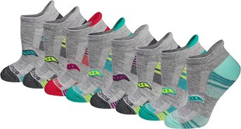 Saucony Women's Performance Heel Tab Athletic Socks (8 & 16 Packs), Grey Assorted (8 Pack), Shoe Size: 5-10
