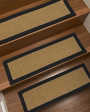 Amazon Com Naturalarearugs Handcrafted Moda Sisal Carpet Stair | Black Carpet Stair Treads | Bullnose | Padded | Stair Runner | Staircase | Non Slip Stair Tread