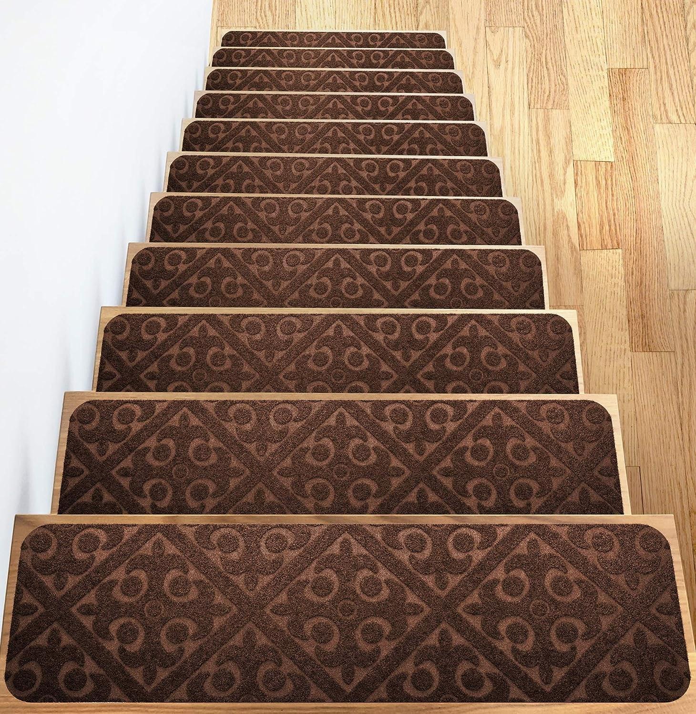 Carpet Stair Treads Set Of 13 Non Slip Skid Rubber Runner Mats Or | Indoor Outdoor Stair Runner | Antelope | Contemporary | Dash | Classic | Herringbone