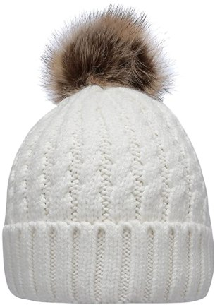 Women's Winter Ribbed Knit Faux Fur Pompoms Chunky Lined Beanie Hats Rope White