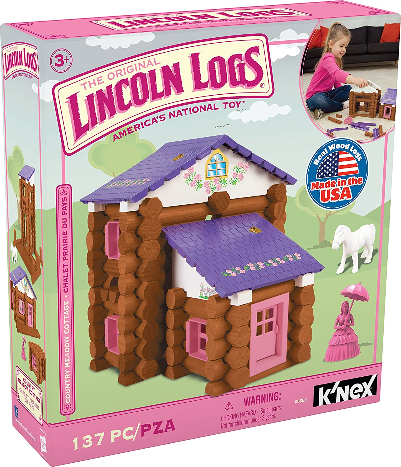 LINCOLN LOGS – Country Meadow Cottage – 137 Pieces –