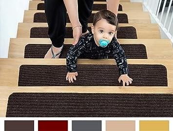 Edenproducts Patent Pending Non Slip Carpet Stair Treads Set Of | Individual Stair Carpet Treads | Non Slip Stair Runner | Flooring | Slip Resistant | Anti Slip | Beige