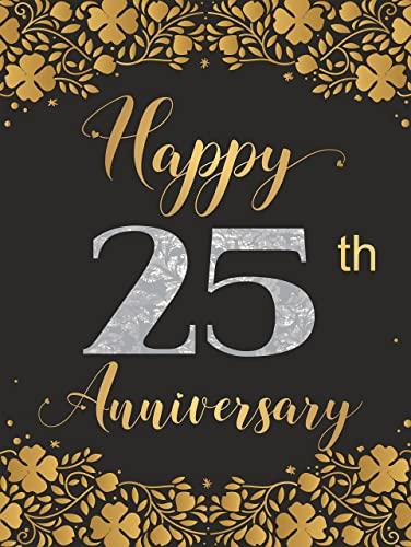 Amazon Com Elegant Happy 25th Anniversary Party Decor Gift Ideas Unframed Poster A3 Silver Gold And Black Wall Art Handmade