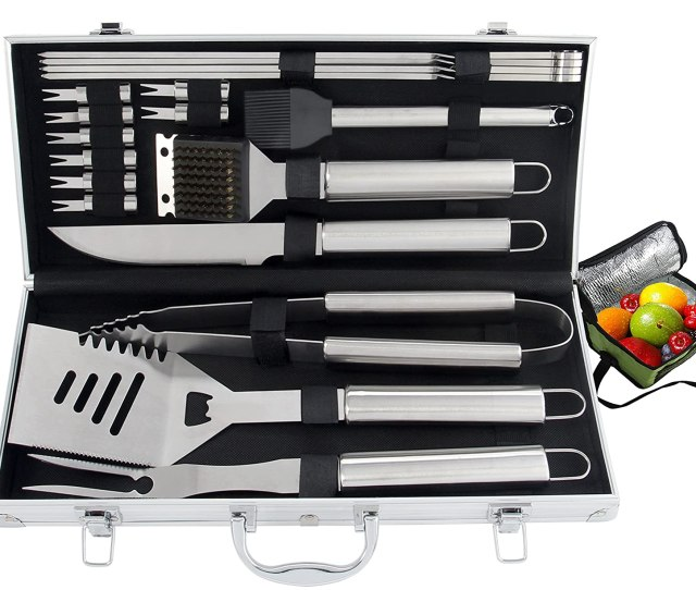 Romanticist 20pc Heavy Duty Bbq Grill Tool Set With Cooler Bag Great Grill Gift Set For Men Dad On Fathers Day Outdoor Camping Tailgating Barbecue Grill