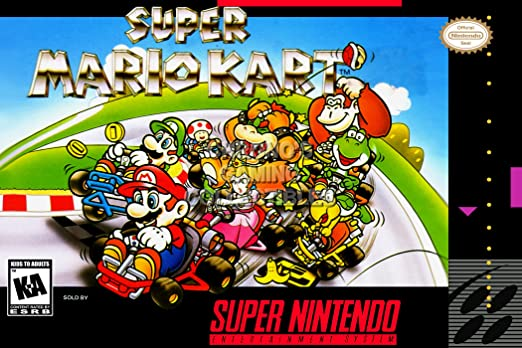 "CGC Enorme Cartel – Super Mario Kart Super Nintendo SNES – Caja Arte –  mar010, 16"" x 24"" (41cm x 61cm): Amazon.com.mx: Hogar y Cocina"