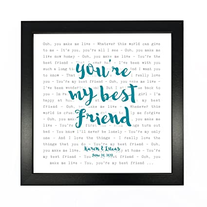 Queen Youre My Best Friend Typography Song Lyrics Print Framed Personalised Anniversary Valentines Wedding Gift Perfect For Him Her