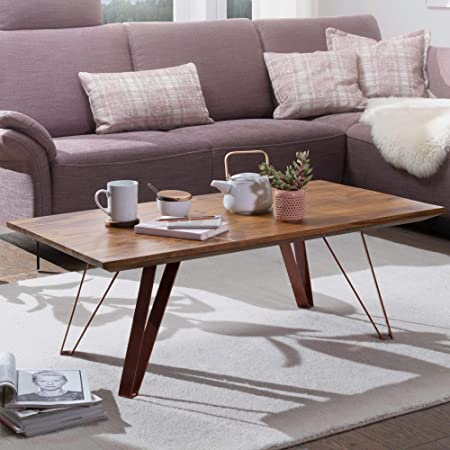 Coffee Table Tolar 110x40x60 Cm Sheesham Solid Wood With Metal Legs Industrial Coffee Table Rectangular Solid Wood Brown Sofa Table Modern Wooden Table Table Unusual Living Room Brown Copper Colored Amazon Co Uk