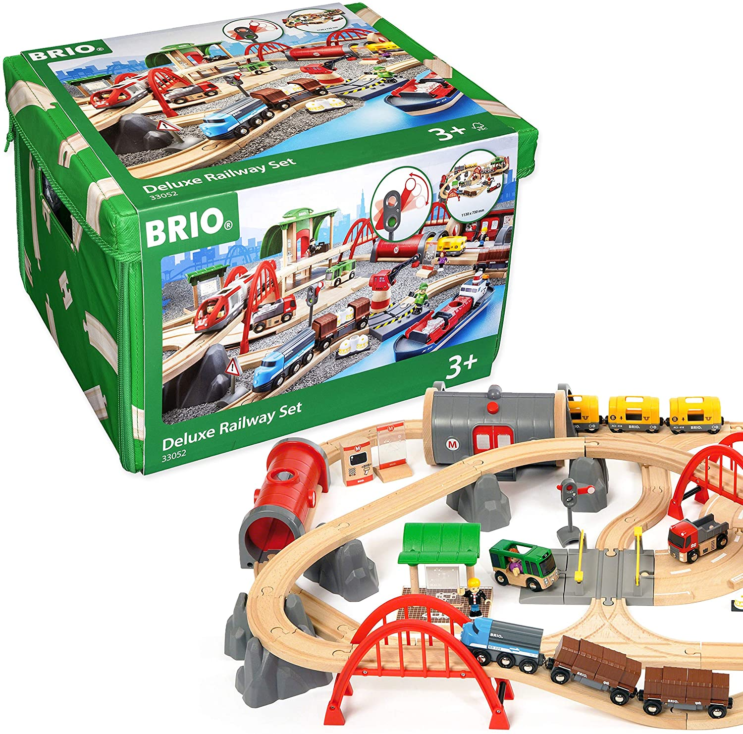 Amazon Com Brio World 33052 Deluxe Railway Set Wooden Toy Train Set For Kids Age 3 And Up Green Toys Games