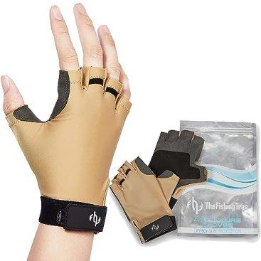 Fishing Tree Fingerless Gloves