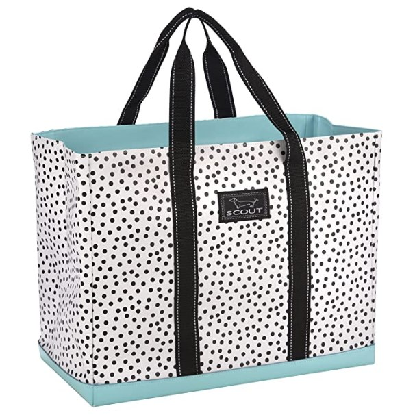 SCOUT Original Deano Large Tote Bag, For The Beach, Pool or Travel, Folds Flat, Water Resistant, Sturdy Base, Interior Key Ring, Hello, Dotty