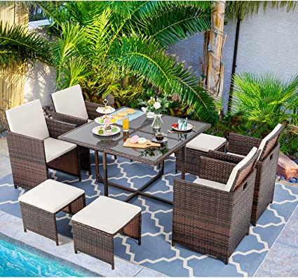 Amazon Com Vongrasig 9 Piece Small Patio Dining Set Outdoor Space Saving Pe Wicker Dining Furniture Set Glass Patio Dining Table With Cushioned Wicker Chairs And Ottoman Sets For Lawn Garden Backyard Beige