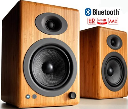 Audioengine A5+ 150W Wireless Powered Bookshelf Speakers, Bluetooth aptX HD 24 Bit DAC, Built-in Analog Amplifier & Remote Control (Bamboo)