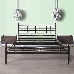 Best Price Mattress Model H Easy Set-Up Steel Platform Bed/Steel Bed Frame, Twin Extra Long, Black
