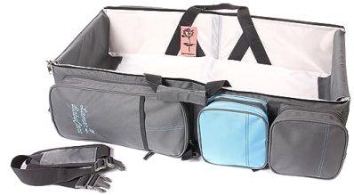 LamarBabyCare - 3 in 1 diaper bag Waterproof diaper Travel Bassinet Baby Bag Multifunction, Crib Foldable, Changing station, spacious pockets (Grey)