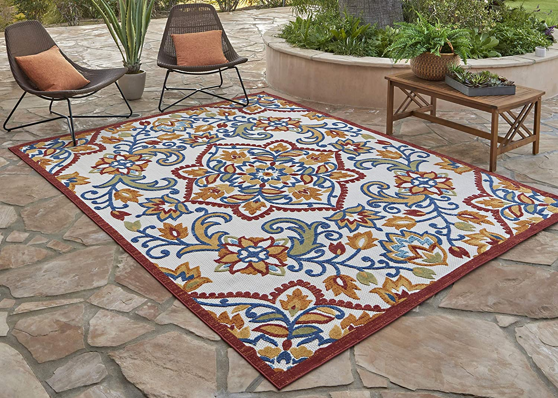 Amazon Com Gertmenian 21611 Indoor Outdoor Rugs Patio Area Carpet 5 25x7 Standard Floral Medallion Orange Red Garden Outdoor