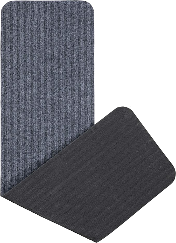 Grey Ottomanson Srt703 7 Scrape Rib Stair Tread 7 Pack | Ottomanson Safety Stair Treads | Wood | Dark Beige | Beige | Anti Slip | Slip Rubber Stair