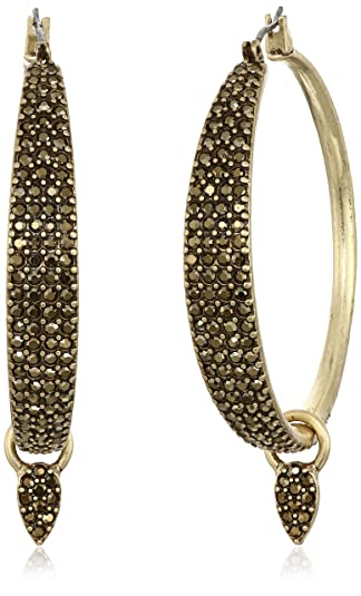 Lucky Brand Gold Pave Dangle Hoop Earrings