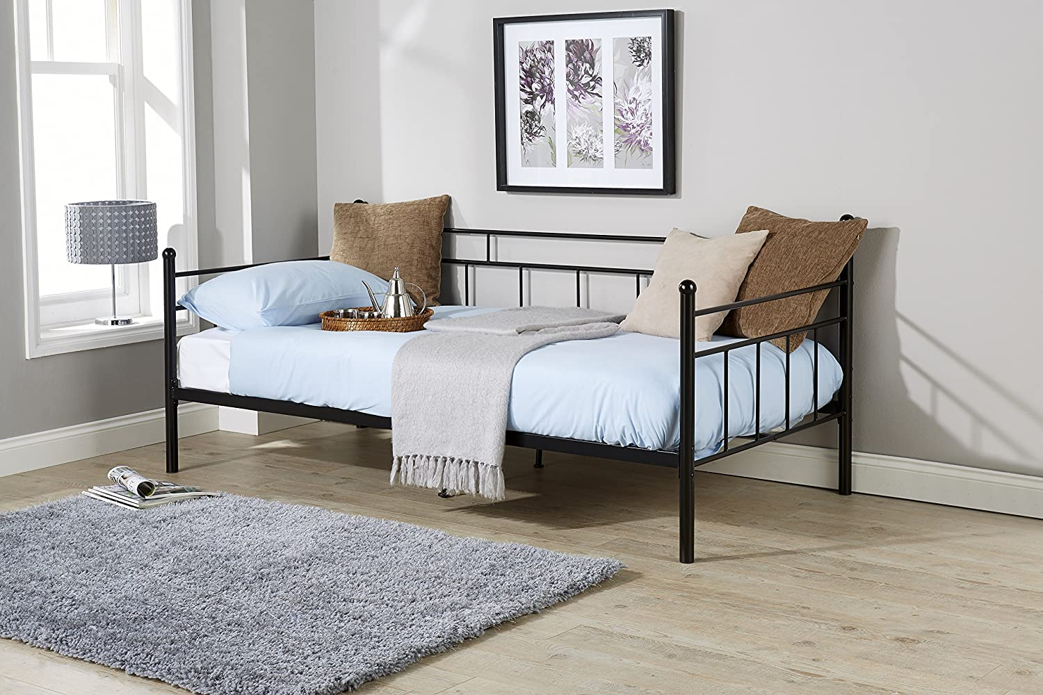 3ft 4ft 4ft6 Single Double Metal Day Bed Frame In Black Pink Blue White Silver Arizona Day Bed 3ft Single Black No Mattress Amazon Co Uk Kitchen Home