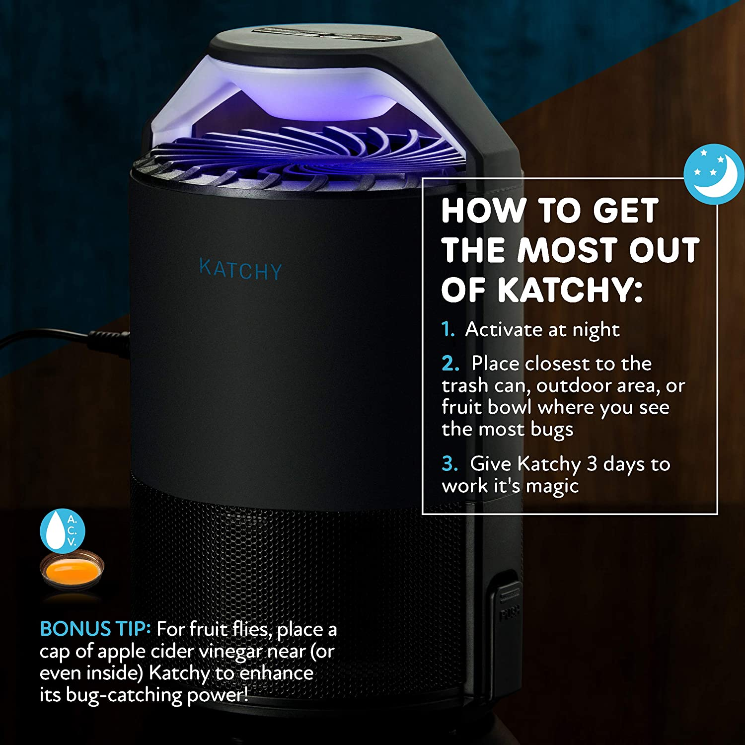 Indoor Insect Trap: Bug, Fruit Fly, Gnat, Mosquito Killer - UV Light, Fan, Sticky Glue Boards Trap Even The Tiniest Flying Bugs - No Zapper - Child Safe, Non-Toxic (Black)