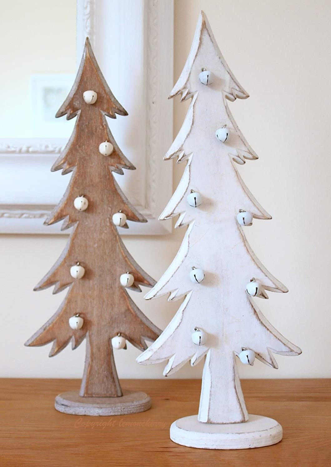White wooden christmas decorations for Wooden christmas decorations