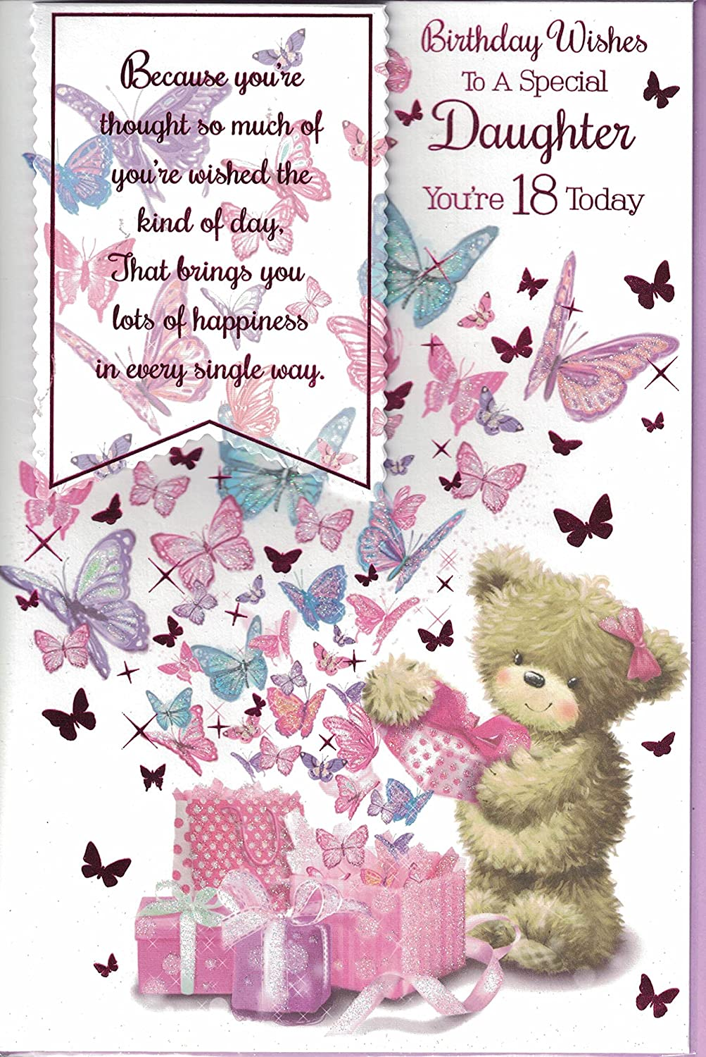Daughter 18th Birthday Card Birthday Wishes To A Special Daughter Your Re 18 Today Teddy Bear Butterflies Amazon Co Uk Garden Outdoors