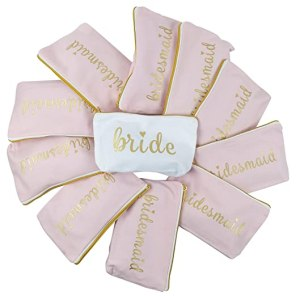 Pink Bridesmaid and Bride Canvas Gold Foil Makeup Bags for Bachelorette Parties, Weddings and Bridal Showers (11 Piece Set)