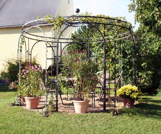 Pavillon Garten, Metallpavillon, Gartenlauben, Rosenpavillon, Pavillon Stabil Holland Ø 350 cm (Verzinkt) von Mpire