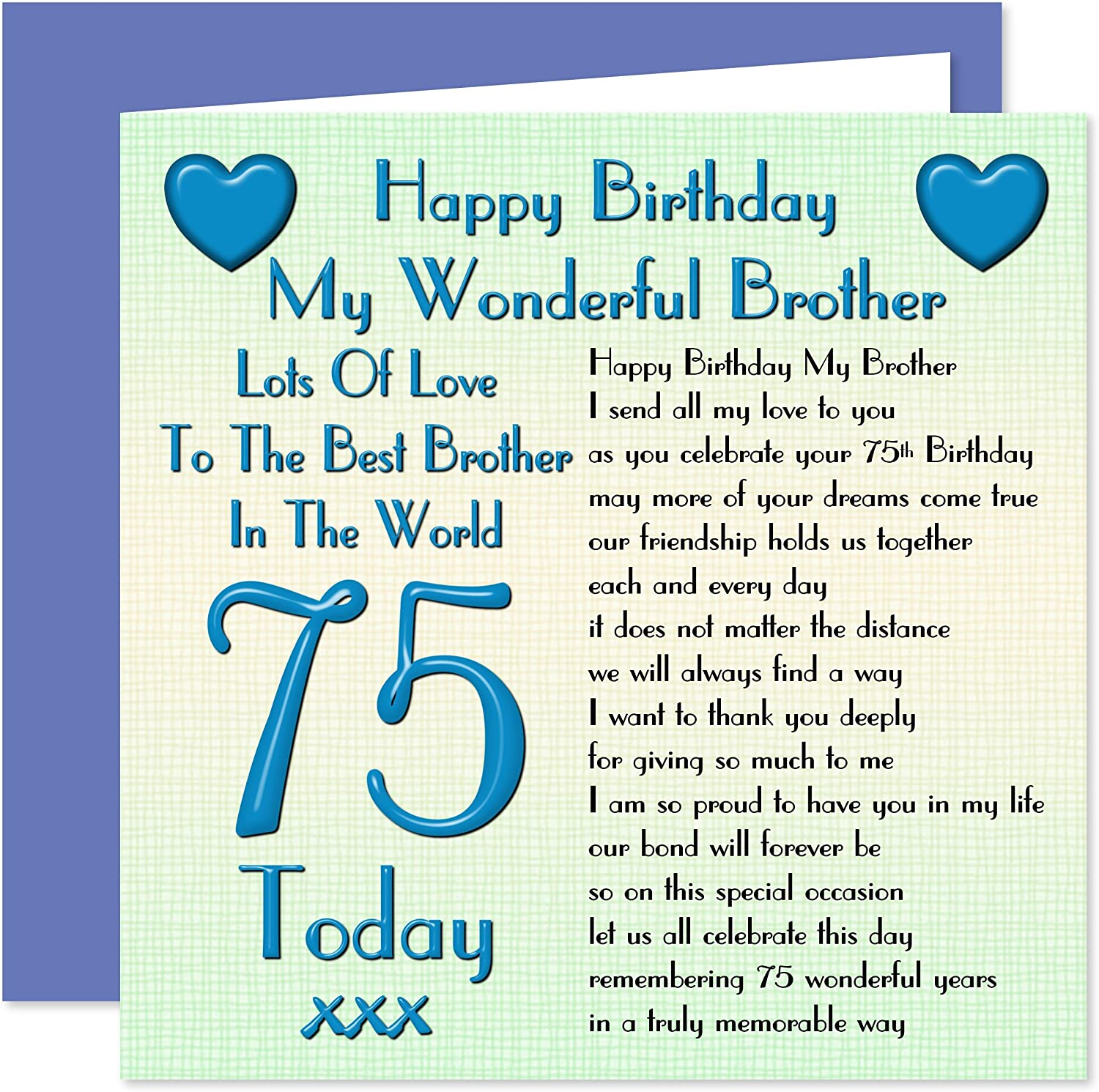 Brother 75th Happy Birthday Card Lots Of Love To The Best Brother In The World 75 Today Amazon Co Uk Office Products