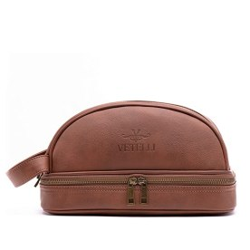 Vetelli Leather Toiletry Bag For Men (Dopp Kit) with free Travel Bottles. The perfect gift and travel accessory.