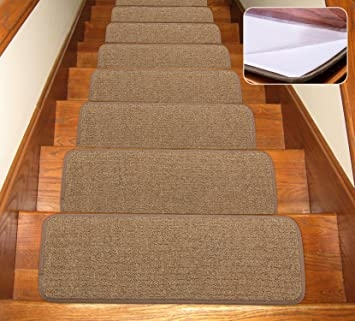 Seloom Stair Treads Carpet Non Slip With Skid Resistant Rubber   Wooden Stairs Carpet Landing   French Cap   Contemporary   Redo   Upstairs   Partially Carpeted