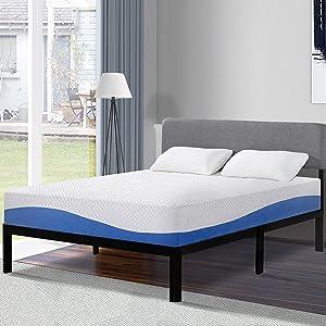 Olee Sleep 10 Inch Gel Infused Layer Top Memory Foam Mattress Blue