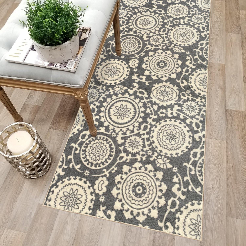 Amazon Com Kapaqua Custom Size Grey Floral Medallion Rubber | Custom Carpet Runners For Stairs | Wood | Carpet Workroom | Charlotte Nc | Area Rugs | Hallway Carpet