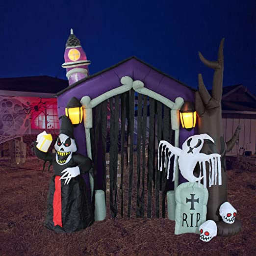 Amazon Com 8 5 Foot Halloween Inflatable Haunted House Castle With Skeletons Ghost And Skulls Lights Decor Outdoor Indoor Holiday Decorations Blow Up Lighted Yard Decor Lawn Inflatables Home Family Outside Home Kitchen