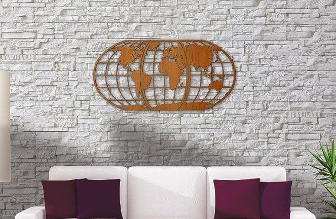 World Map Art 3D Woodcut - Huge Wood Globe Wall Hanging Huge 3D Earth World Map Decor