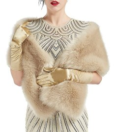 BABEYOND Womens Faux Fur Collar Shawl Faux Fur Scarf Wrap Evening Cape for Winter Coat (Light Khaki)