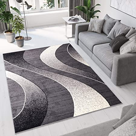 Tapiso Area Rugs For Living Room Bedroom Modern Light Dark Grey Waves Contemporary Pattern Durable Carpet Stylish Interior Dream Collection Size 180 X 250 Cm 5ft11 X 8ft2 Amazon Co Uk