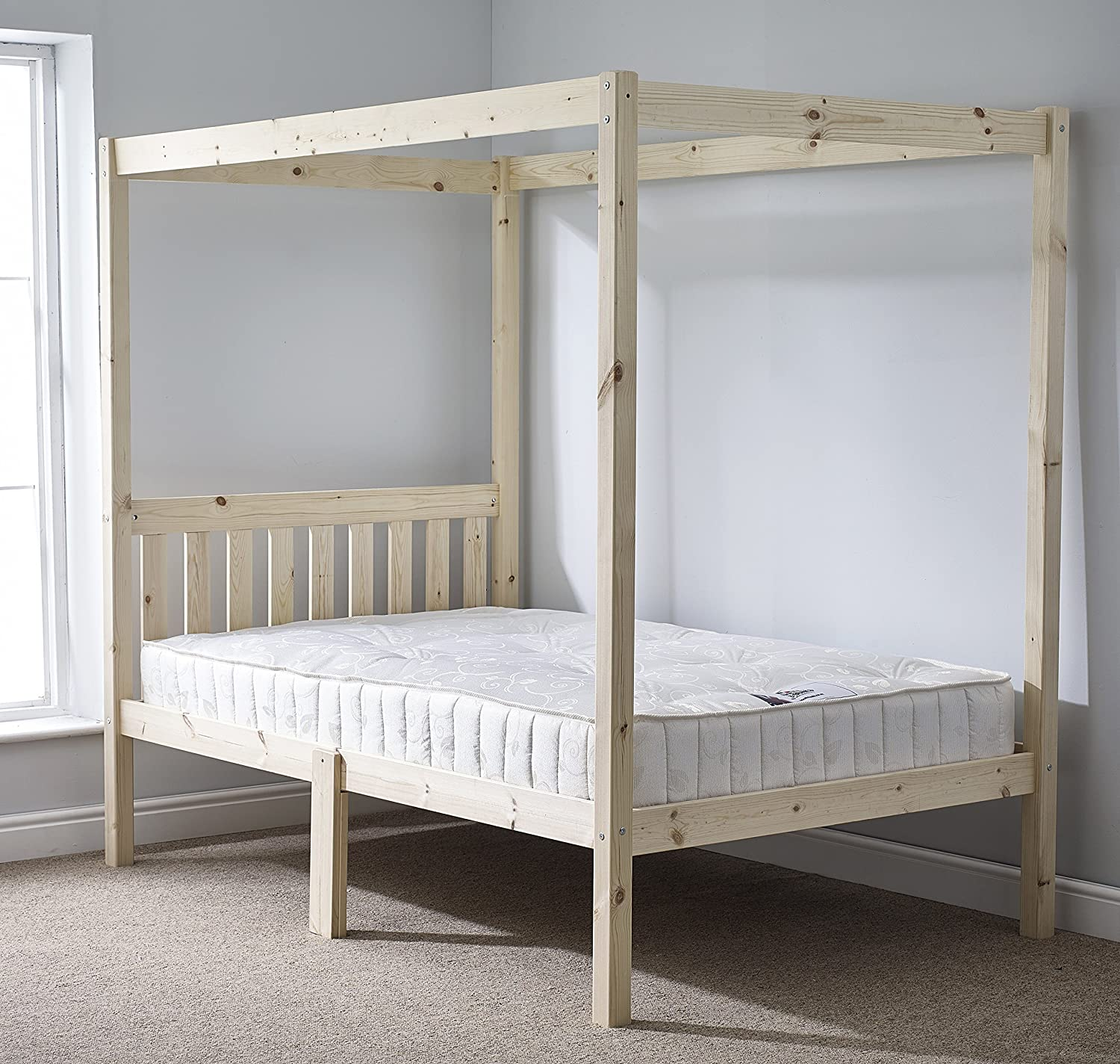 Strictly Beds And Bunks Pine Four Poster Bed With Memory Foam Mattress 4ft 6 Double Amazon Co Uk Kitchen Home