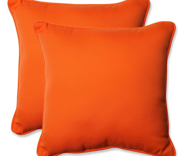 Amazon Com Pillow Perfect Outdoor Sundeck Corded Throw Pillow 18 5 Inch Orange Set Of 2 Home Kitchen