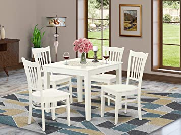 Amazon Com 5 Pc Kitchen Table And 4 Wood Dining Chairs In Linen White Table Chair Sets