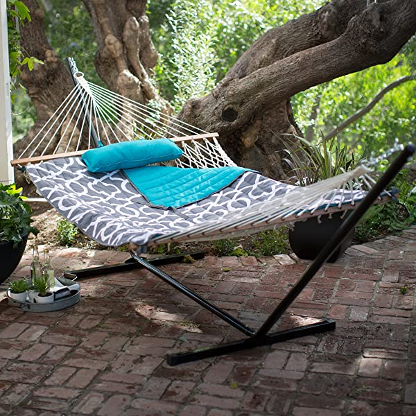 Algoma 11 ft. Cotton Rope Hammock with Metal Stand Deluxe Set