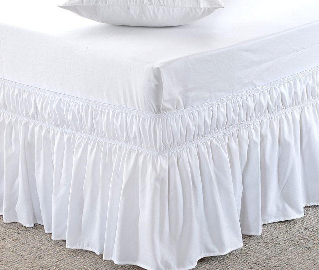Amazon Com Meila Three Fabric Sides Wrap Around Elastic Solid Bed Skirt Easy On Easy Off Dust Ruffled Bed Skirts 16 Inch Tailored Drop White Queen King