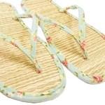 Dép rơm Nhật Bản màu xanh da trời tricoline / sandal zori / có thể giặt được, nhẹ và tươi / phù hợp mọi dịp