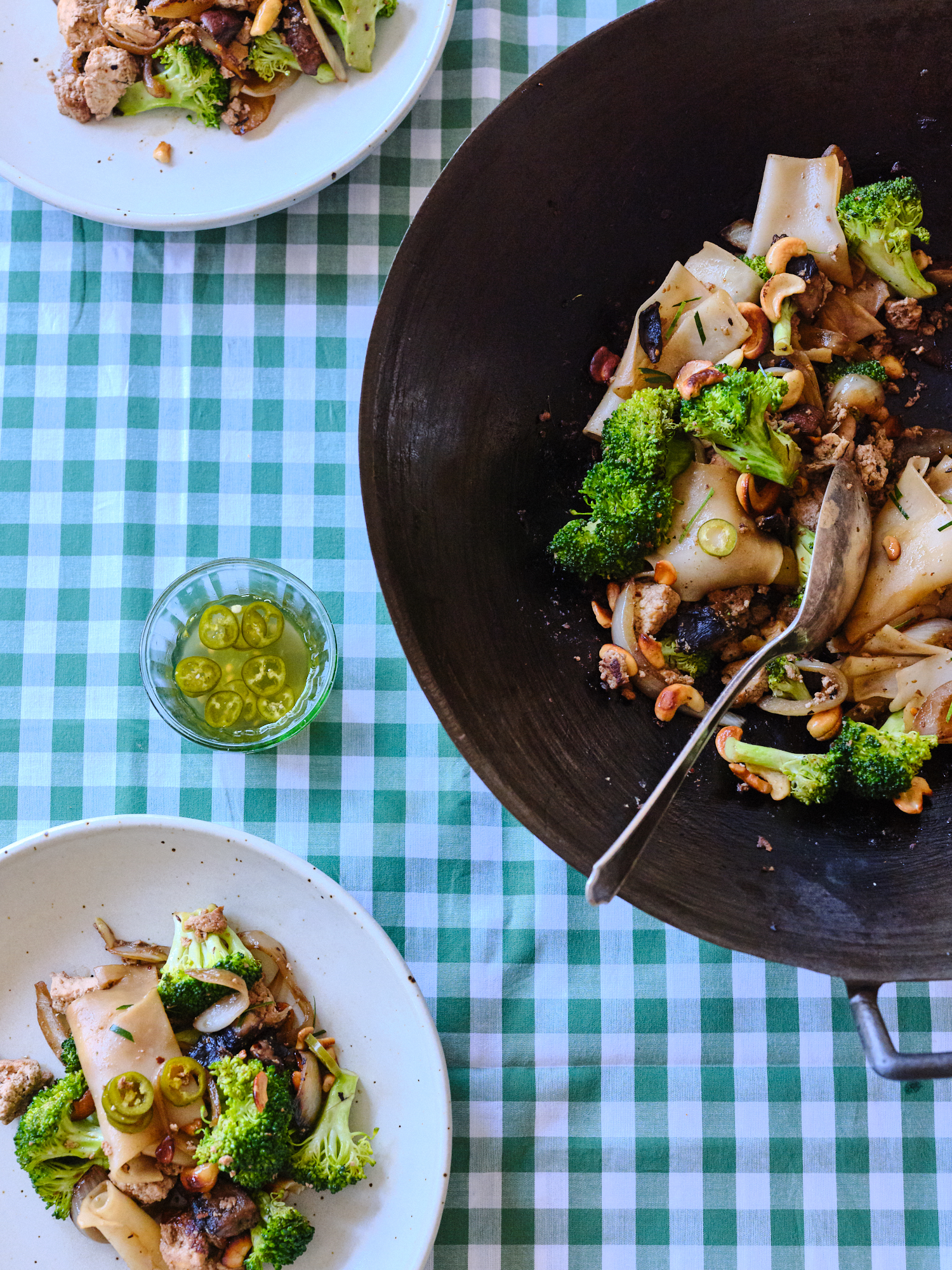 A Fave Rice Noodle Stir Fry with Whatever Green Veg you Have on Hand
