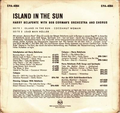 45cat - Harry Belafonte - Island In The Sun - RCA - Germany