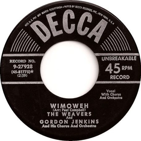 45cat - The Weavers - Old Paint (Ride Around Little Dogies) / Wimoweh -  Decca - USA - 9-27928